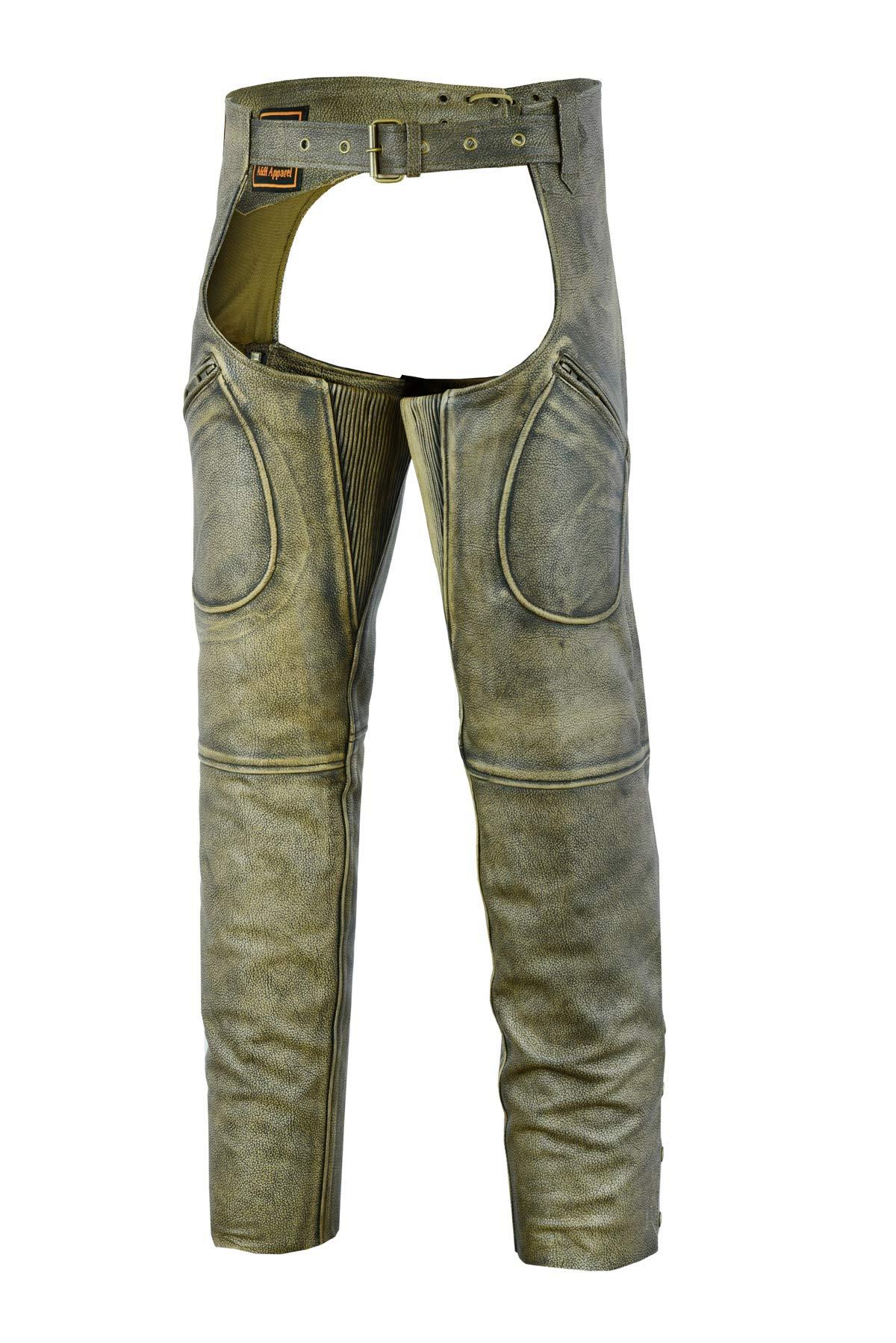 Mens Cowhide Premium Leather Elastic Fit Chaps (X-Large)