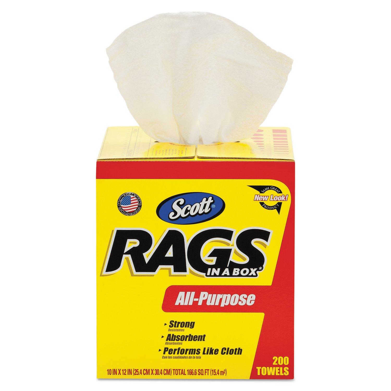 Scott Rags In A Box (75260), White, 200 Shop Towels per box, 1 case of 8 boxes