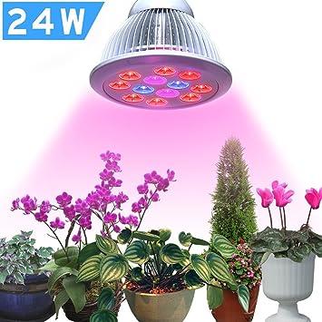 SDTM Bombillas Plantas, 24W 12 LED Iluminación para plantas La planta de interior crece las