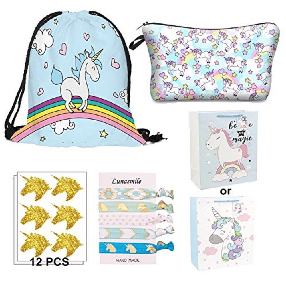 Unicorn Gift Bag Pack for Girls - 5 Pack-Unicorn Drawstring Backpack/Makeup Bag/Sticker/Hair Ties/Gift Bag (Blue Kit) by LUNASMILE (Image #1)