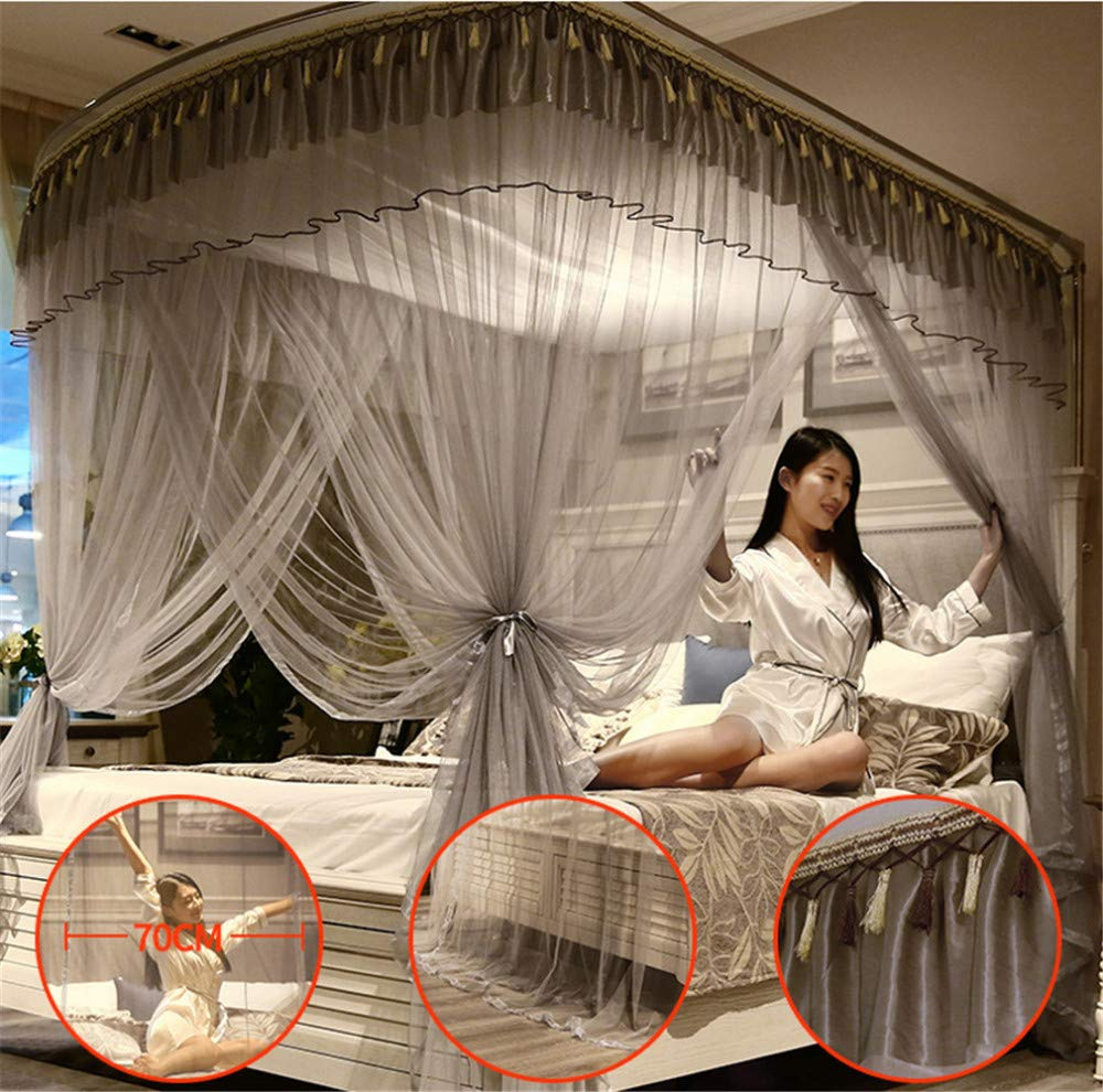 Mosquito net Indoor Mosquito net Outdoor Mosquito net Travel Mosquito net Anti-Mosquito Insect net Palace Mosquito net Bedroom Decoration, Gray, L (87-210Adjustment) W150cm by RFVBNM Mosquito net (Image #2)