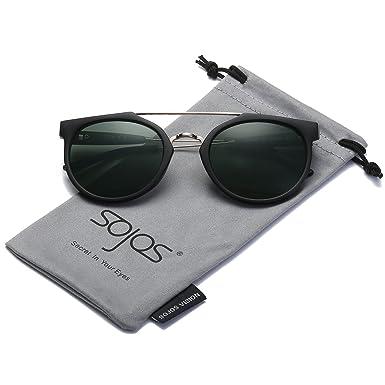 80863ac777b SojoS Modern Double Bar Bridge Mirror Lens Round Unisex Sunglasses SJ2032  with Black Frame G15 Lens  Amazon.co.uk  Clothing