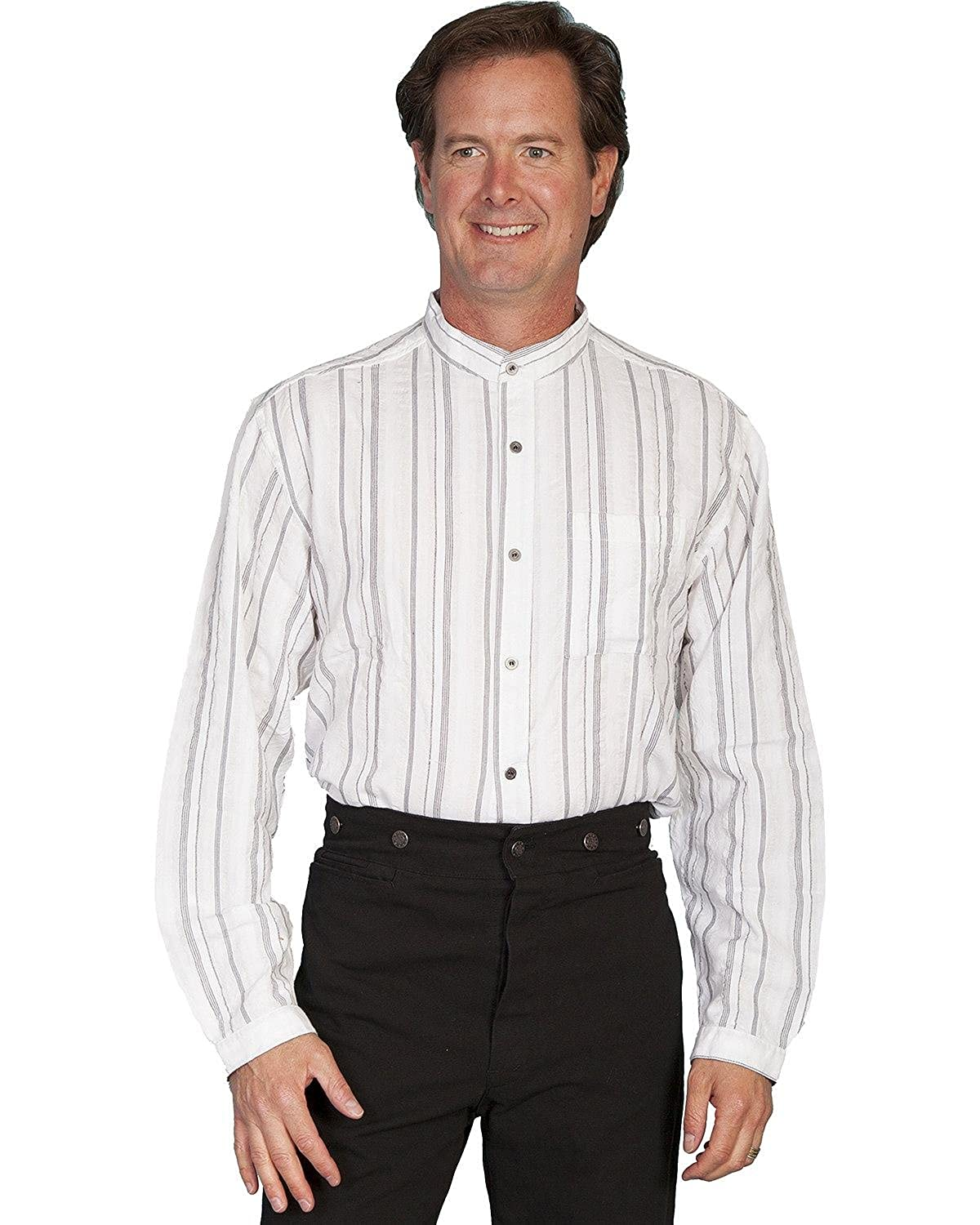 Edwardian Men's Fashion & Clothing Scully One of Our Best Selling Shirts - White $49.99 AT vintagedancer.com