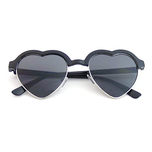 c0e2cd857f Cute Vintage Half Frame Inspired Heart Shape Sunglasses (Black) at Amazon  Women s Clothing store