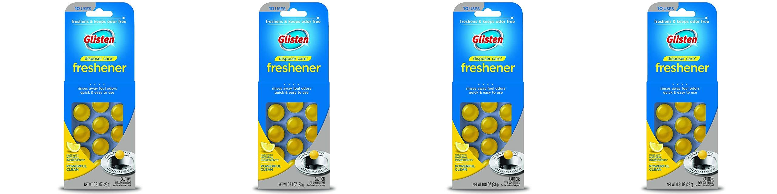 Glisten Disposer Care Freshener, Lemon Scent, 10 Use - 4 Pack