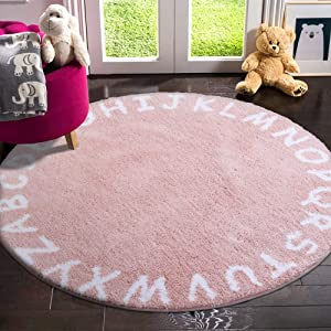 LIVEBOX ABC Kids Play Mat, Alphabet 4ft Round Area Rugs Soft Plush Educational Learning & Game Baby Girls Crawling Mat Non-Slip Tufted Throw Carpet for Nursery Decor Bedroom Best Shower Gift(Pink)