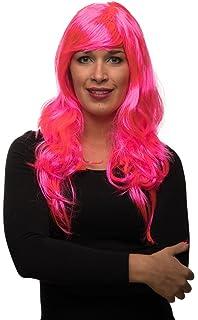 Damen Perücke pink Langhaar Damenperücke Langhaarperücke Frauenperücke glatt JGA