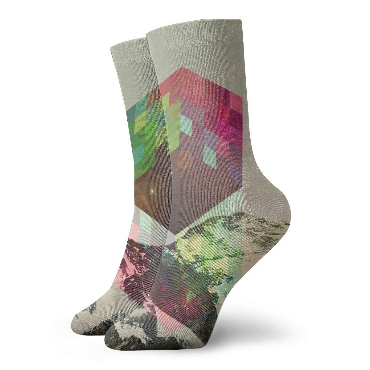 Unisex High Ankle Cushion Crew Socks Magic Cube Pattern Casual Sport Socks