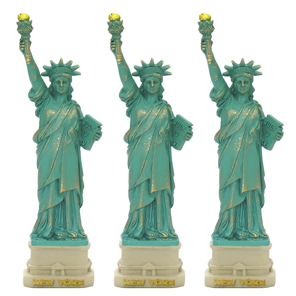 City-Souvenirs (3 PACK) New York City Party Supplies, 4'' Statue of Liberty Statues Replica Gifts with Copper Tint; Statue of Liberty Souvenir Figurines from New York