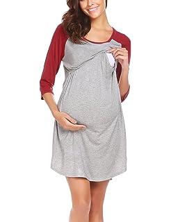 318cbb77a6 Unibelle Women s Maternity Dress Nursing Nightgown for Breastfeeding Nightshirt  Sleepwear S-XL