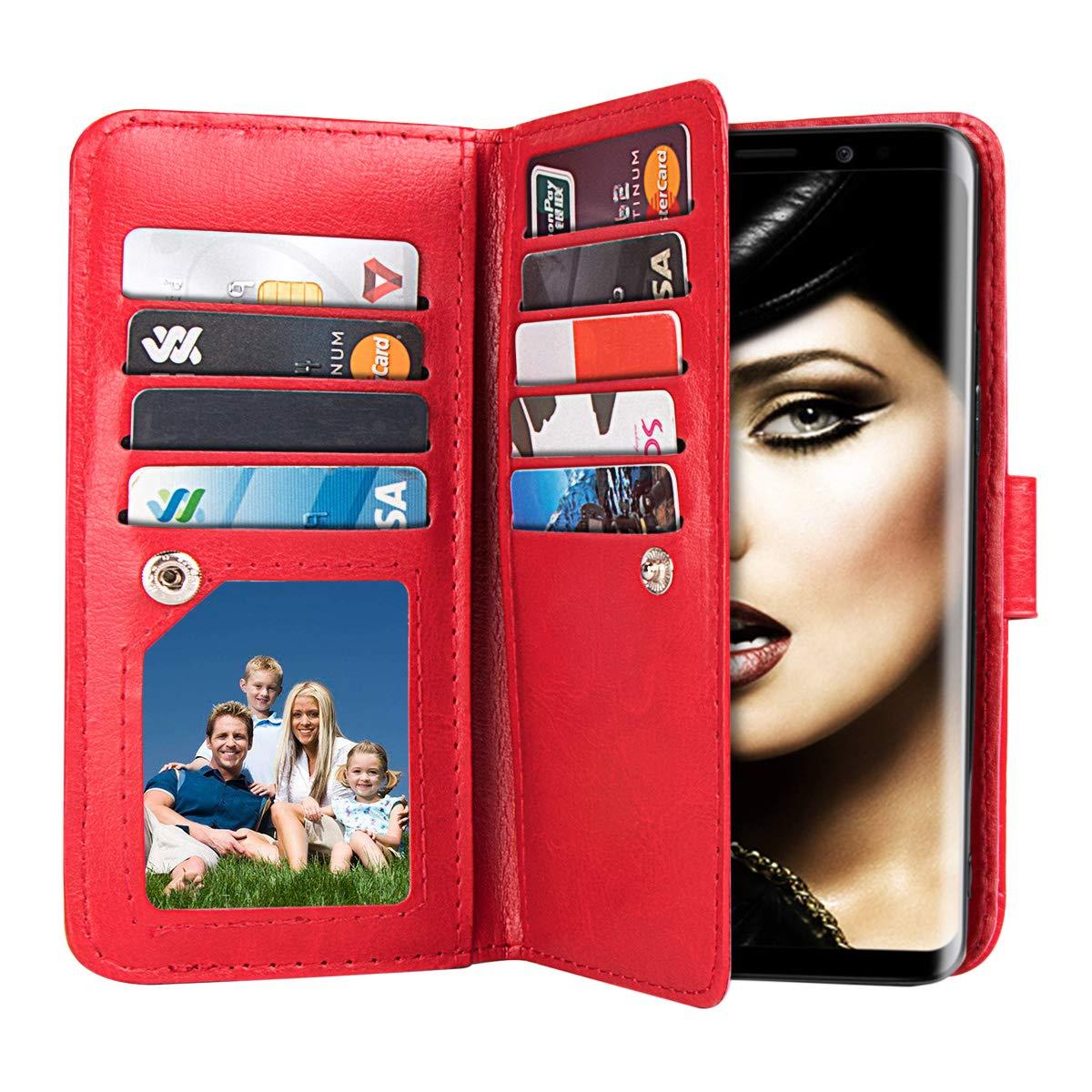 xhorizon FLK Premium Leather Folio Case [Wallet Function] [Magnetic Detachable] Wristlet Purse Soft Multiple Card Slots Cover Samsung Galaxy Note 9