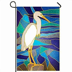 """Ahawoso Outdoor Garden Flags 12""""x18"""" Inch Color Blue Heron Stained Glass Window White Great Wildlife Green Abstract Beak Bird Design Vertical Double Sided Home Decorative House Yard Sign"""