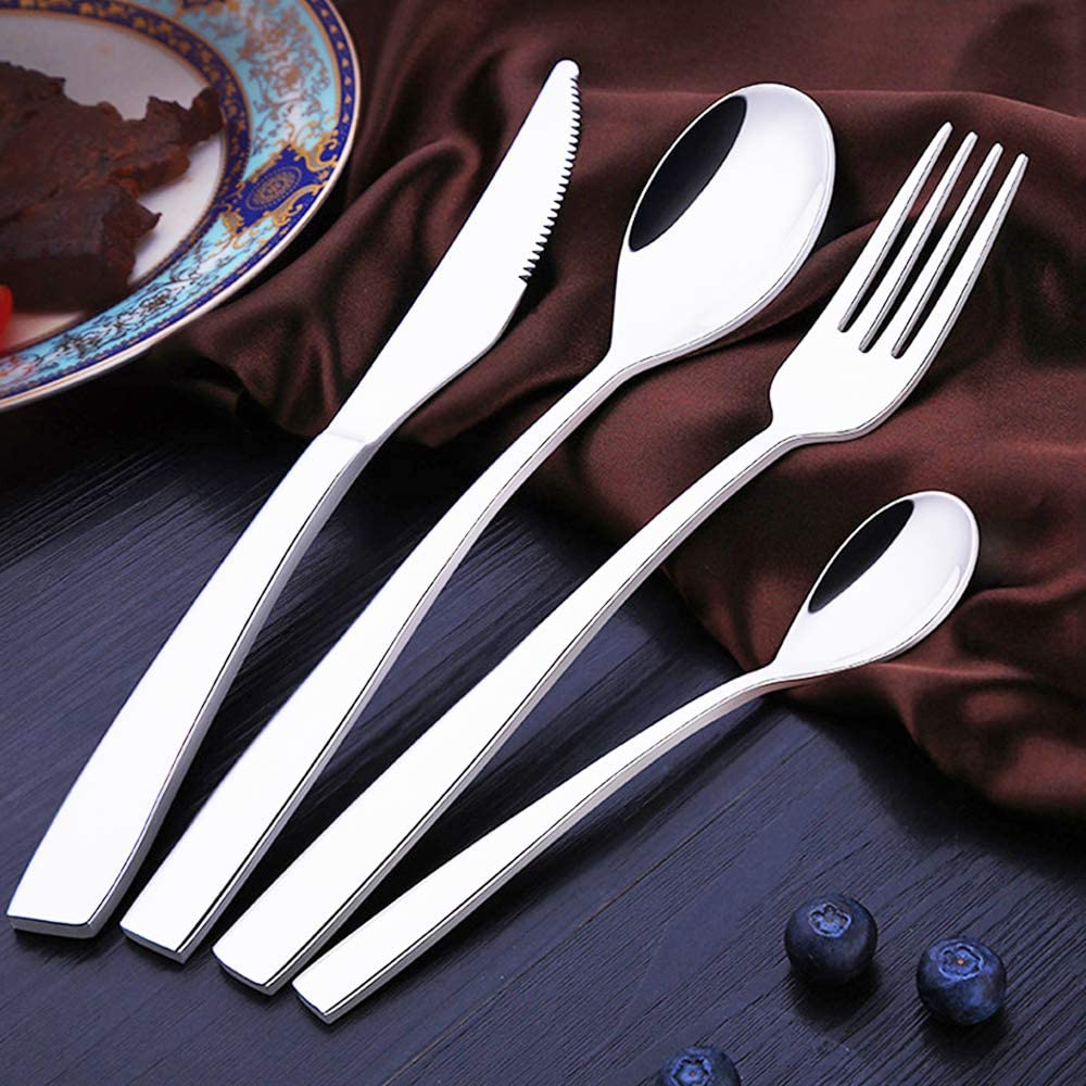 Tesinll Silverware Flatware Cutlery Set, Stainless Steel Utensils Service for 1, Including a Knife, a Fork, two Spoons for Home and Restaurant, Mirror Polished, Dishwasher Safe