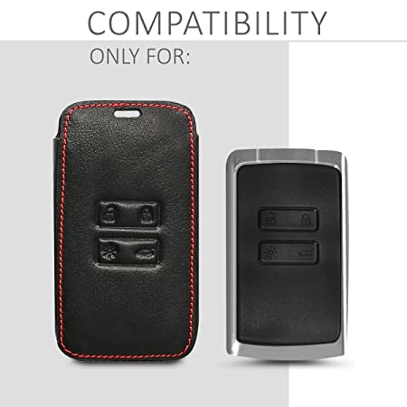- Magnolias Taupe//White//Black Heavy Duty PU Leather Protective Key Fob Cover for Renault 4 Button Car Key Smart Key only Keyless Go kwmobile Car Key Cover for Renault
