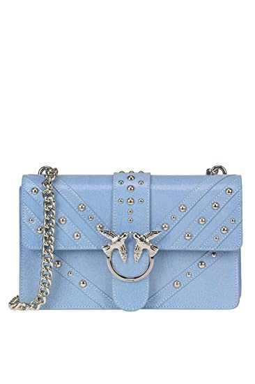 bbe1a44773b6f PINKO EZGL016218 Women s Light blue Leather Shoulder bag  Amazon.co.uk   Clothing