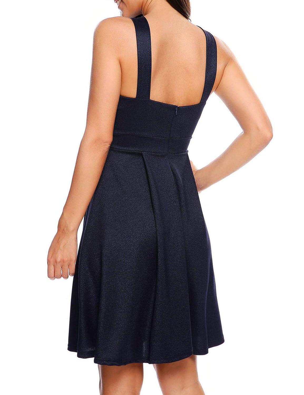 a5c37b3e545 Zeagoo Womens Sexy Slim Sleeveless Cross Neck Halter Cocktail Party Club  Skater Dress at Amazon Women's Clothing store: