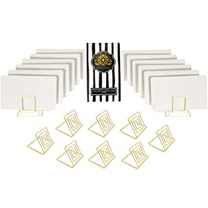 CB Accessories Set of 20 Wire Place Card Holder Stands with White Cards for Weddings, Dinner Parties, Table Top Numbers, Food Signs (Gold)