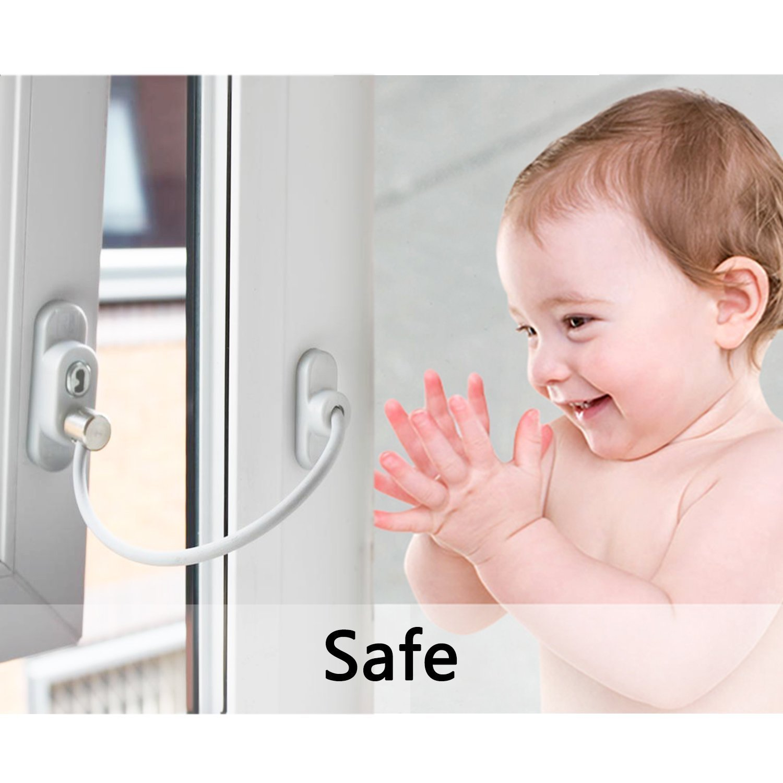 Kamtop 4pcs Kindersicherung Fenster Sicherheit Schloss 4 st/ück Sicherheit Kabel f/ür Kinder Baby Fenster T/ür Schloss mit Schrauben Schl/üssel Wei/ß