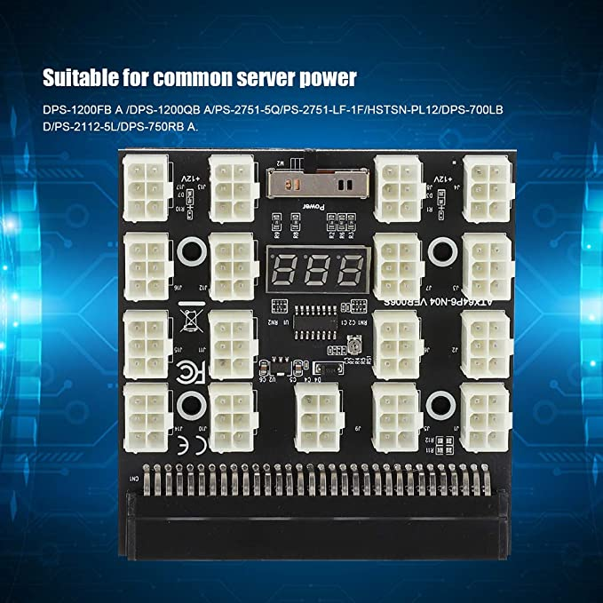 Wendry Placa adaptadora, PCI-E 17x 6 Pines 12V Servidor de minería ...