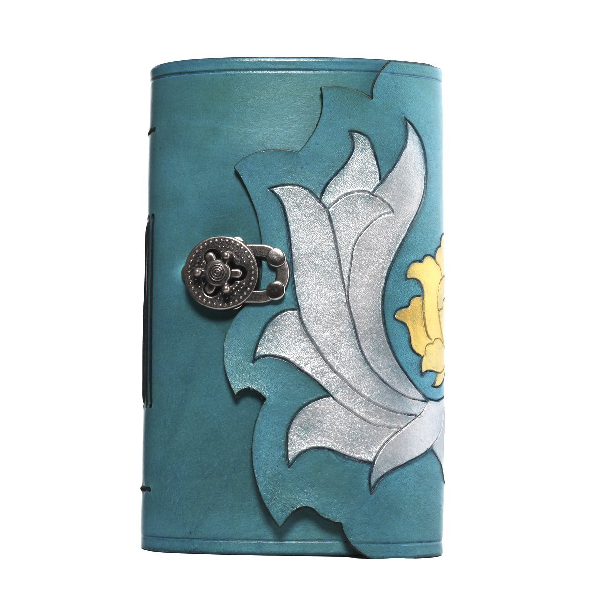 Turquoise lotus leather hand bound journal. Free initials!