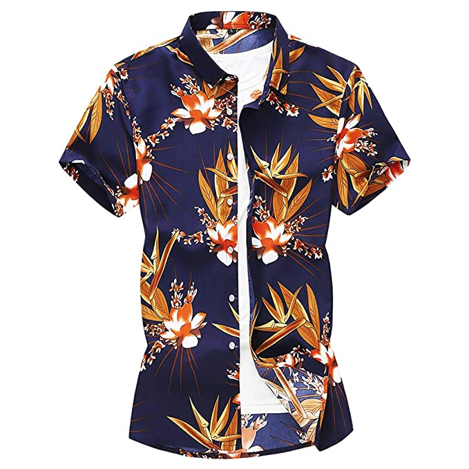 YKARITIANNA - Blusa hawaiana de manga corta con botones impresos ...
