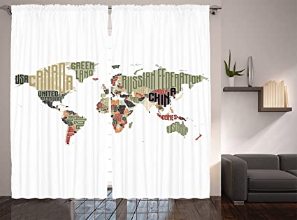 Map Of Canada For Elementary Students.Ambesonne Elementary Classroom Decor Collection Russia Brasil Canada China Usa Typographic Map Picture Window Treatments Living Dining Teens Room