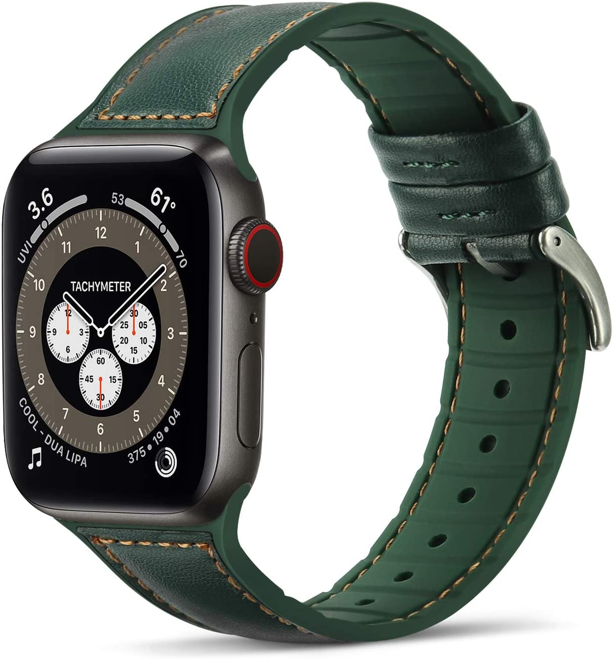 Tasikar Bands Compatible with Apple Watch Band 38mm 40mm, Genuine Leather with Soft Silicone Hybrid Design Replacement Strap Compatible with Apple Watch SE Series 6 5 4 3 2 1- (38mm 40mm, Green)