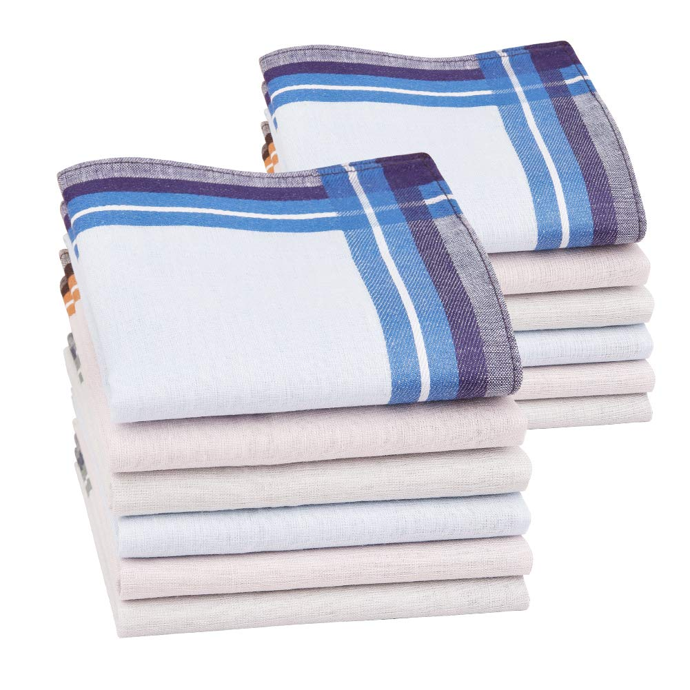 6//12 Pieces 43x43cm Houlife Mens Handkerchiefs 100/% Cotton 60S Classic Stripe Checkered Pattern Coloured Plaid Hankies for Dad Grandad Fathers Day Gift