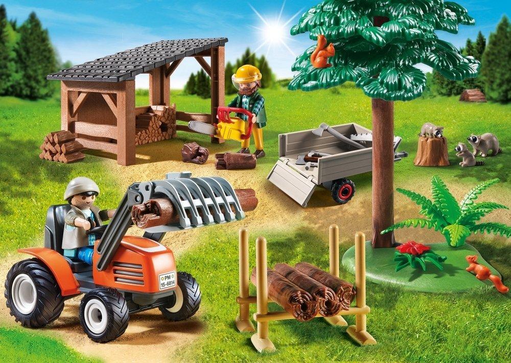 Multicolor Country Almac/én de Madera y Tractor Playsets de Figuras de Juguete 6814 PLAYMOBIL