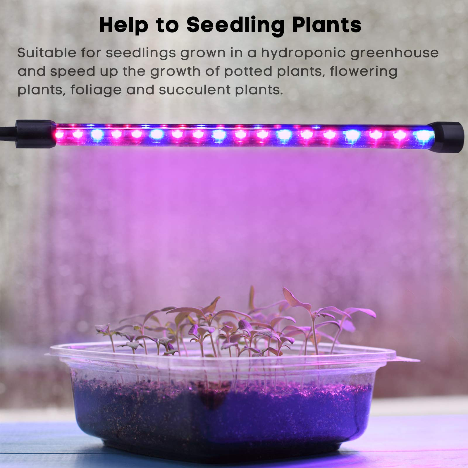 LED Grow Light, MIXC Dual Head Timing Grow Lamp 36LED Indoor Plant Lights 5 Dimmable Levels with Adjustable 360 Degree Gooseneck for Hydroponics Greenhouse Gardening