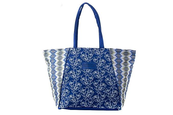 Borsa mare piscina donna GIANMARCO VENTURI blu fantasia floreale a spalla  V128 8a7a8654ff9