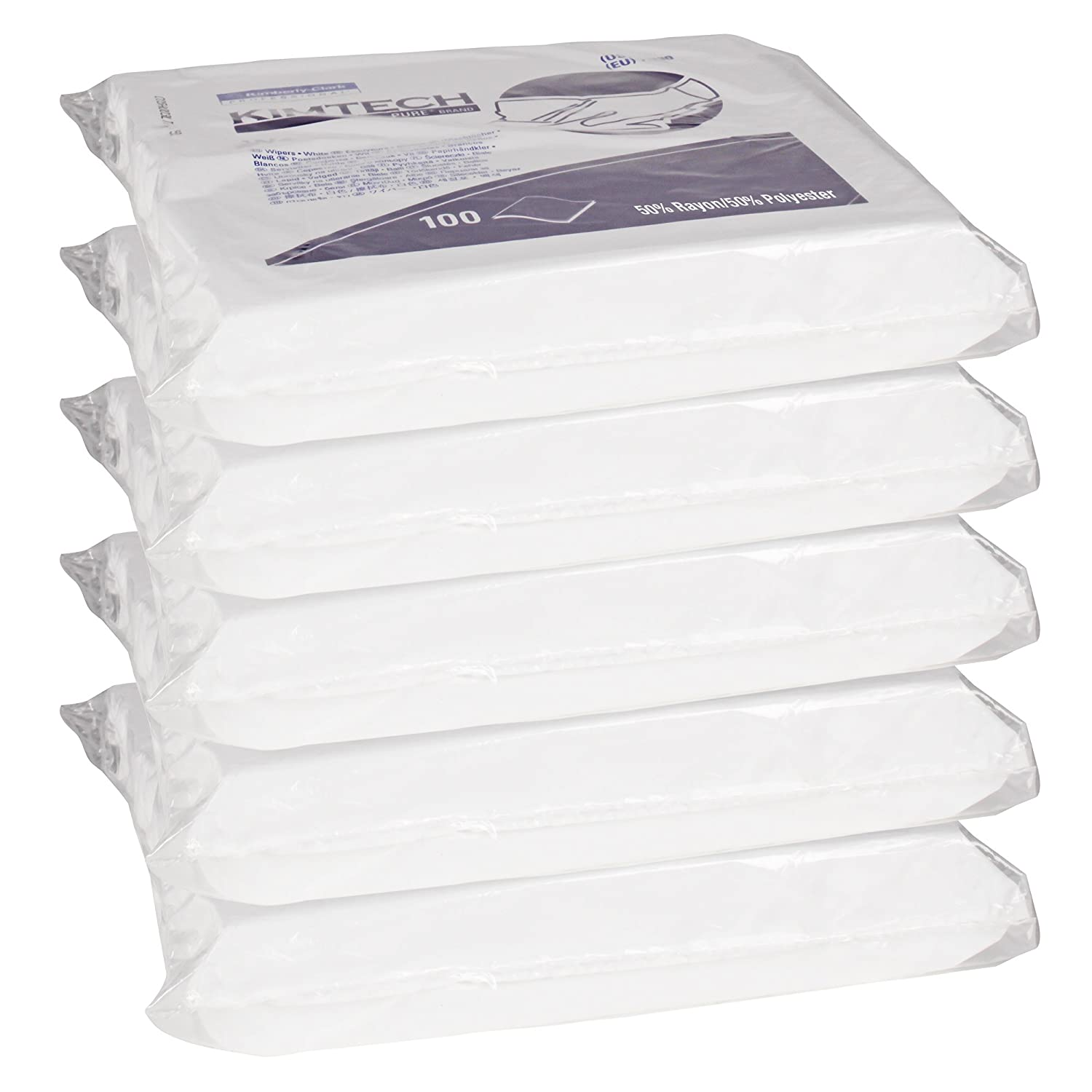 """Double Bag White 06179 Kimtech Pure W5 Dry Wipers 9/"""" x 9/"""" Case Liner 500 per case 5 Bags of 100 Wipes//Case"""