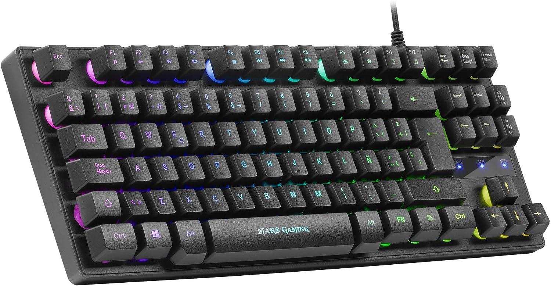 Mars Gaming MKTKL, Teclado H-Mech RGB 8 efectos, Antighosting, Layout Español