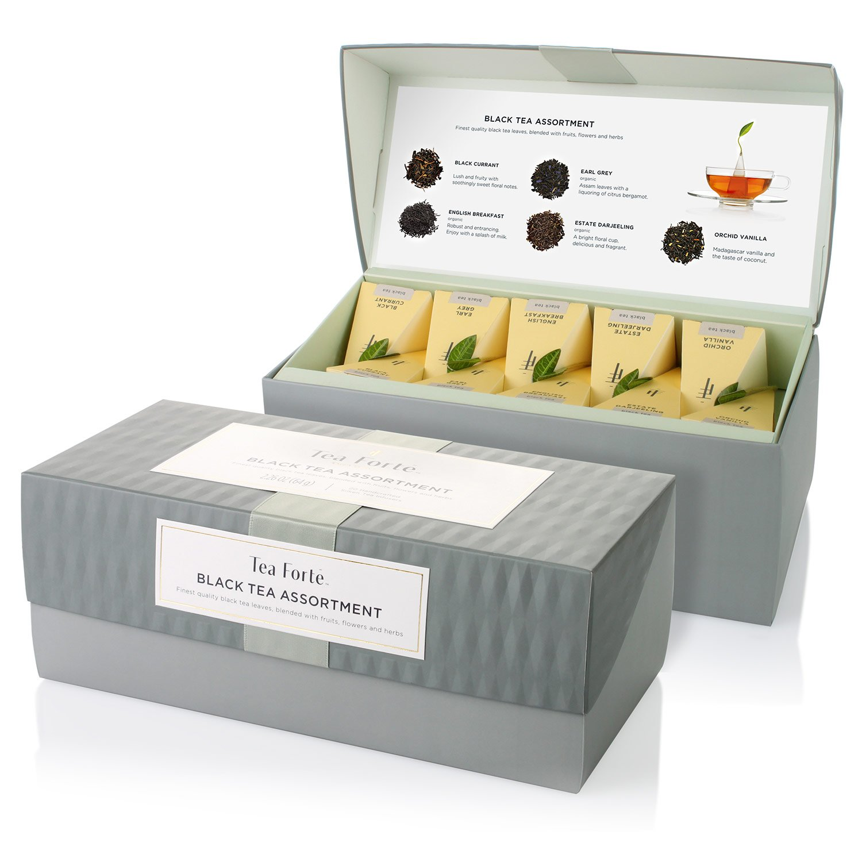 Tea Forté BLACK TEA ASSORTMENT Presentation Box Tea Sampler, Assorted Variety Tea Box, 20 Handcrafted Pyramid Tea Infuser Bags