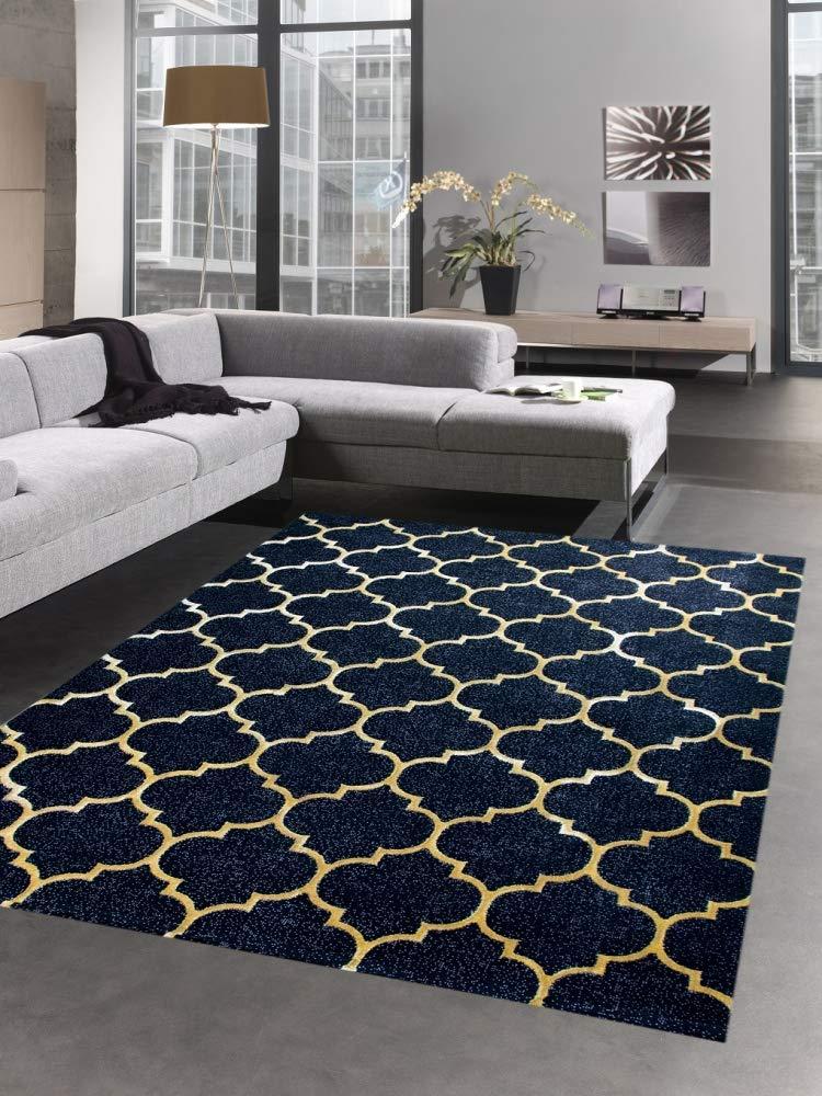 Carpetia Teppich modern Wohnzimmerteppich Orient marokkanisches Muster schwarz grau Gold Größe 80 x 300 cm