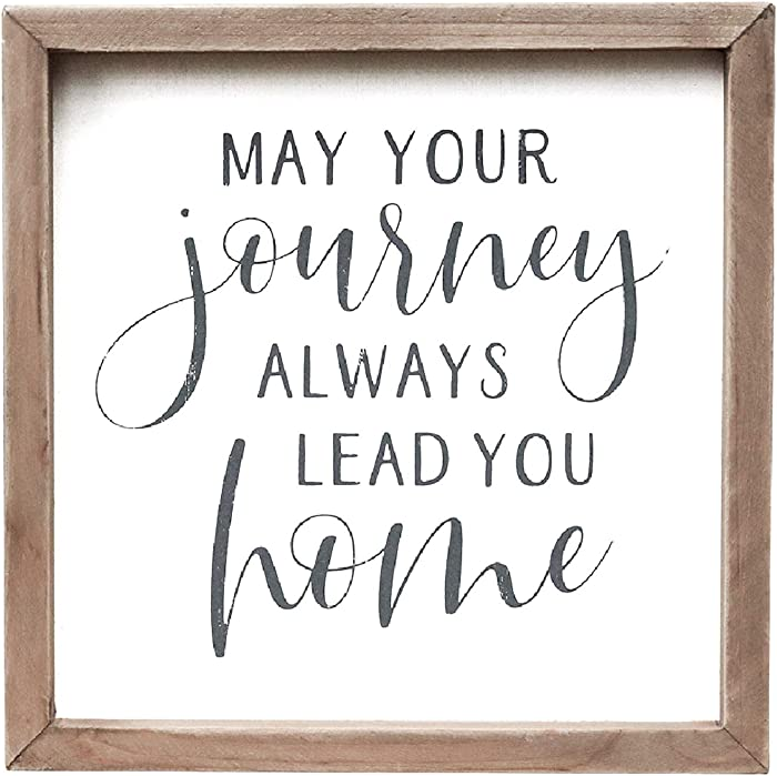 """Parisloft May Your Journey Always Lead You Sweet Home Wood Framed Sign, Retro Vintage Farmhouse Wall Hanging Decor, 7-7/8"""""""