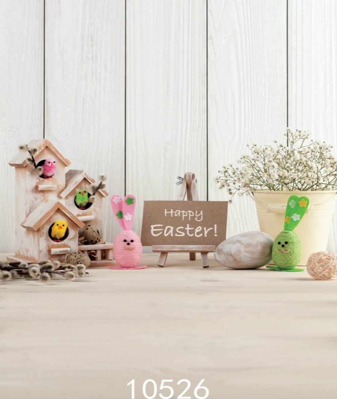 4X6FT-Childrens Happy Easter cartoon Portrait Photography Backdrops Wood Photo Studio Background