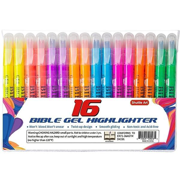 Shuttle Art 16 Pack Bible Safe Gel Highlighter study kit