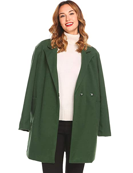 skate shoes quality and quantity assured classic fit EASTHER Women's Wool Peacoat Button Overcoat Long Sleeve Wool Jacket