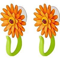 VIGAR Flower Power deurhaak badkamer met zuignap 2 stuks, kunststof, oranje, 8x5x12 cm, 2