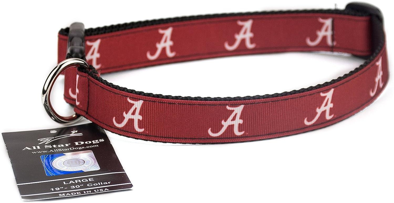 Medium ZEP-PRO Alabama Crimson Tide Brown Leather Concho Dog Collar