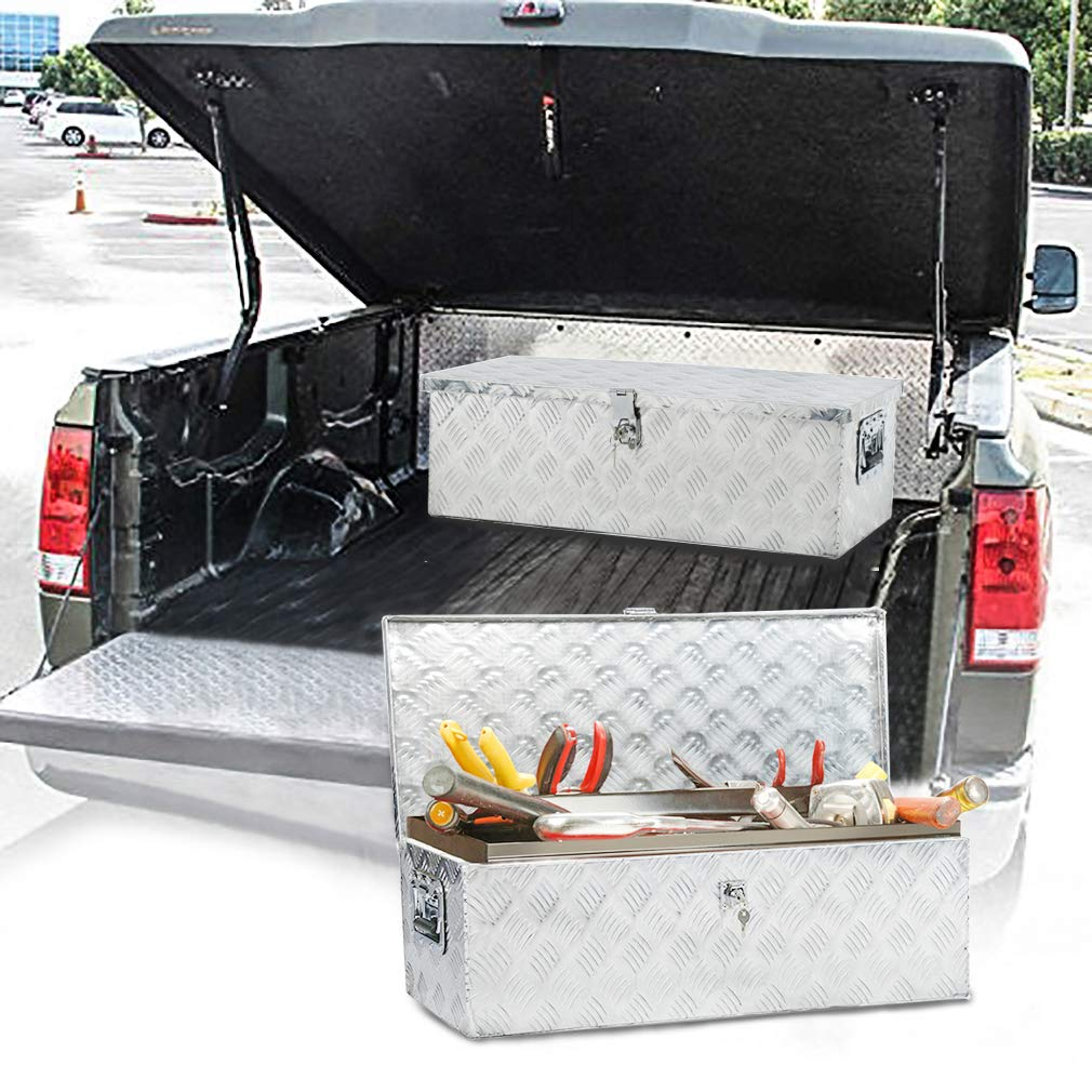 Truck Tool Box Aluminum Tool Box Camper Tool Box W/Handle and Lock for Pickup Truck/Trailer 30'' Silver by BestMassage (Image #5)