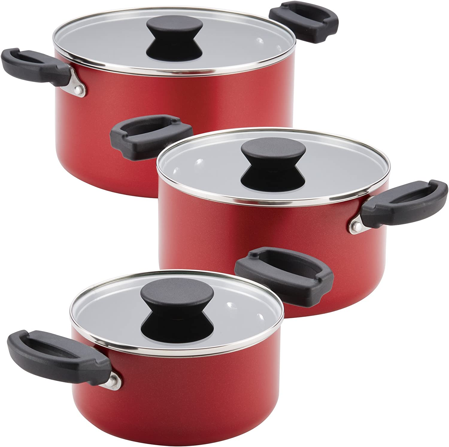 Amazon Com Farberware Neat Nest Space Saving Aluminum Nonstick Cookware Set Red Kitchen Dining