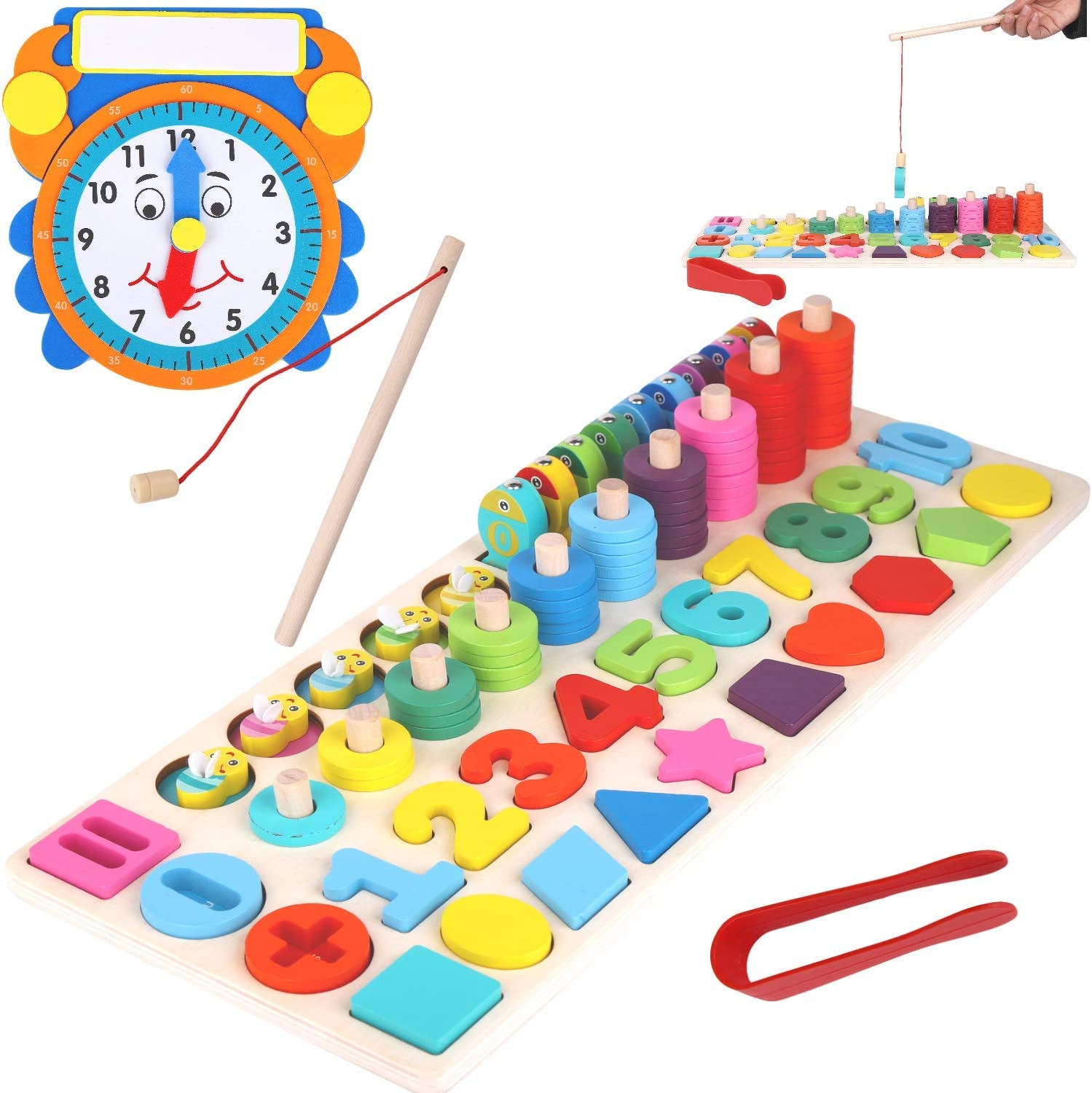 ASHER AND OLIVIA Wooden Montessori 7-1 Puzzle Set – Math, Number, Shape, Picking, Stacking, Counting, Fishing Set with Learning Clock
