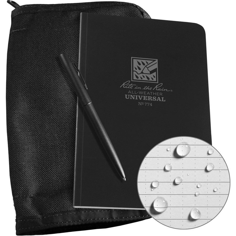 Rite in the Rain Weatherproof Bound Book Kit: Black CORDURA Fabric, 4 5/8'' x 7 1/4'' Black Notebook, and Weatherproof Pen (No. 774B-KIT) by Rite In The Rain