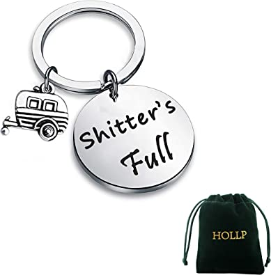 Shitters Full Keychain Happy Camper RV Keychain Camping Keychain Trailer Christmas Vacation Jewelry