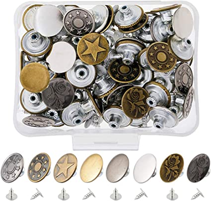 40 Sets Jeans Metal Tack Snap Buttons Replacement Repair Sewing Pants w//Box 17mm