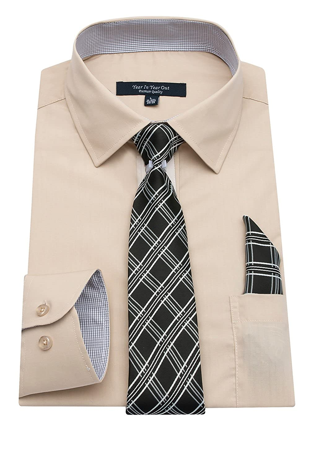 Year In Year Out Mens Long Sleeve Dress Shirts Slim Fit Shirts For