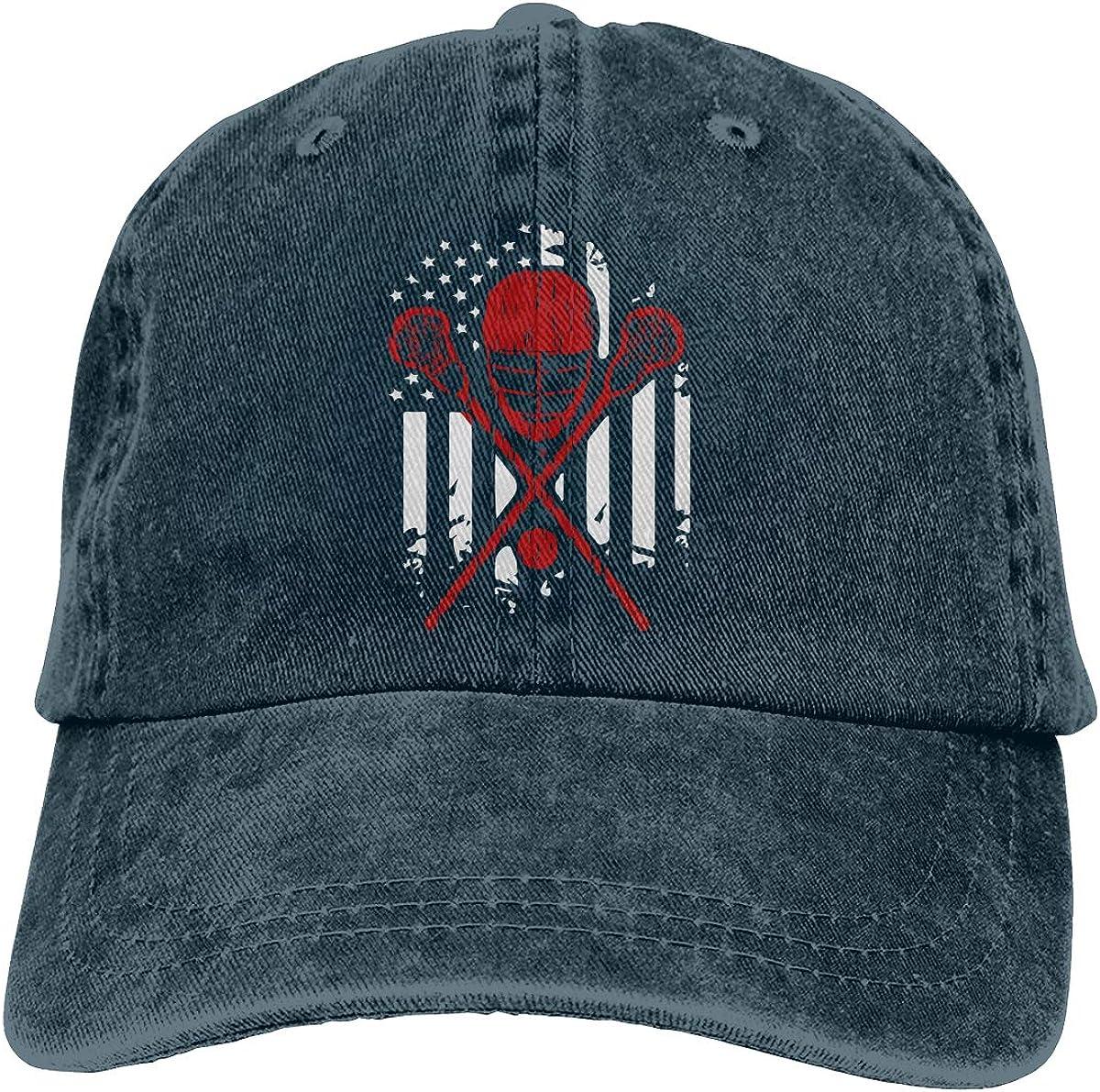 Lacrosse American Flag Adult Custom Cowboy Outdoor Sports Hat Adjustable Baseball Cap