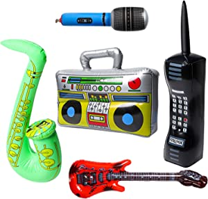 WATINC 5Pcs Inflatable Rock Star Party Favor, Inflatable Boom Box Mobile Phone Guitar Party Props for 80's 90's Party Decorations, Rock and Roll Party Favors Supplies, Christmas Birthday Party Gifts